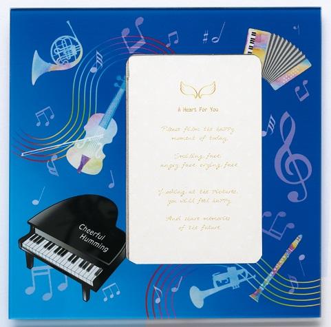 ガラスフォト ピアノ ※お取り寄せ商品 引き出物 記念品  【音楽雑貨 音符・ピアノモチーフ】ト音記号 ピアノ雑貨c
