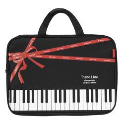 ピアノライン ファスナー付きレッスントートバッグリボン ※お取り寄せ商品 引き出物 記念品 音楽雑貨 音符 ピアノモチーフ ト音記号 ピアノ雑貨 コンクールドレス