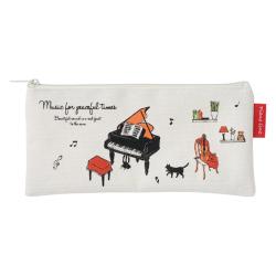 Piano line シンプルペンケース アラモード ※お取り寄せ商品 引き出物 記念品 音楽雑貨 音符 ピアノモチーフ ト音記号 ピアノ雑貨