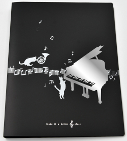 A4リングファイル ※お取り寄せ商品 引き出物 記念品 音楽雑貨 音符 ピアノモチーフ ト音記号 ピアノ雑貨