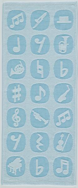 ジャガード織今治フェイスタオル ※お取り寄せ商品 引き出物 記念品 音楽雑貨 音符 ピアノモチーフ ト音記号 ピアノ雑貨