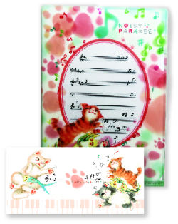 NOISY PARAKEET NOISY PARAKEET A5 クリアファイル&一筆箋セット ※お取り寄せ商品 引き出物 記念品 音楽雑貨 音符 ピアノモチーフ ト音記号 ピアノ雑貨