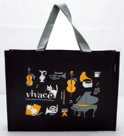 レッスントートバッグ vivace ※お取り寄せ商品 引き出物 記念品 音楽雑貨 音符 ピアノモチーフ ト音記号 ピアノ雑貨