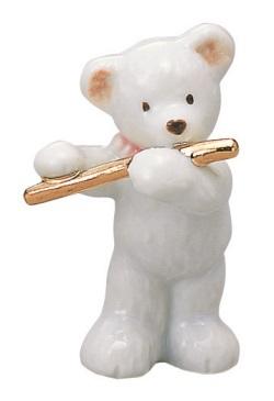 ベアー マスコット ホワイト フルート 楽器 【音楽雑貨 ピアノ雑貨】 この商品はお取り寄せ商品です♪音符 ピアノ 楽器 音楽雑貨