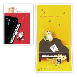 立体カード ピアノ ※お取り寄せ商品 【音楽雑貨 音符・ピアノモチーフ】ト音記号 ピアノ雑貨c