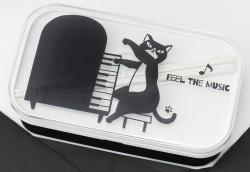 箱付きランチボックス ※お取り寄せ商品 引き出物 記念品 音楽雑貨 音符 ピアノモチーフ ト音記号 ピアノ雑貨
