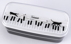 二段箸付きランチボックス ※お取り寄せ商品 引き出物 記念品 音楽雑貨 音符 ピアノモチーフ ト音記号 ピアノ雑貨