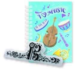 リングメモ&ロングクリップセット Music Life I Love Music ※お取り寄せ商品 引き出物 記念品 音楽雑貨 音符 ピアノモチーフ ト音記号 ピアノ雑貨