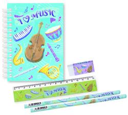I  LOVE MUSIC リングメモ&文具セット※お取り寄せ商品 引き出物 記念品 音楽雑貨 音符 ピアノモチーフ ト音記号 ピアノ雑貨
