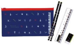 PVCペンケース&文具セット ※お取り寄せ商品 引き出物 記念品 音楽雑貨 音符 ピアノモチーフ ト音記号 ピアノ雑貨