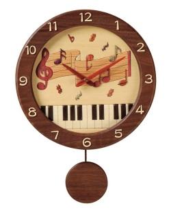 振り子掛時計 ※お取り寄せ商品 【音楽雑貨 音符・ピアノモチーフ】ト音記号 ピアノ雑貨