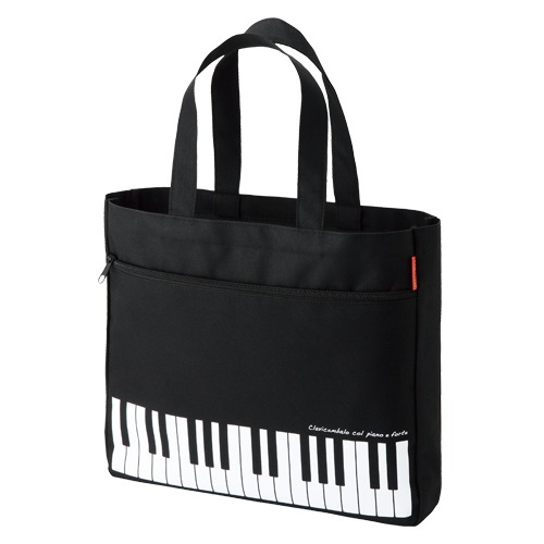 piano line ポケット付きレッスンバッグ ※お取り寄せ商品 【音楽雑貨 音符・ピアノモチーフ】ト音記号 ピアノ雑貨
