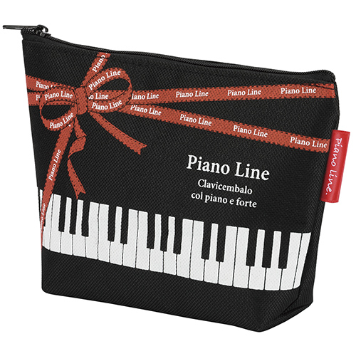 Piano line 舟形ポーチリボン ※お取り寄せ商品 引き出物 記念品 音楽雑貨 音符 ピアノモチーフ ト音記号 ピアノ雑貨 コンクールドレス