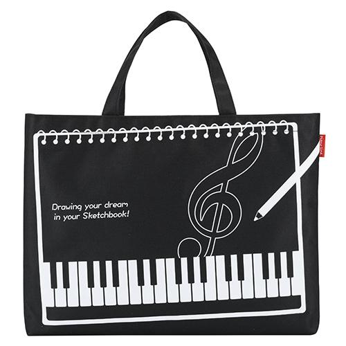 Piano line B4スケッチブック対応バッグ ※お取り寄せ商品 引き出物 記念品 音楽雑貨 音符 ピアノモチーフ ト音記号 ピアノ雑貨
