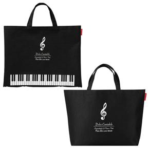 Piano line ボタンで2Wayトートバッグ ※お取り寄せ商品 引き出物 記念品 音楽雑貨 音符 ピアノモチーフ ト音記号 ピアノ雑貨