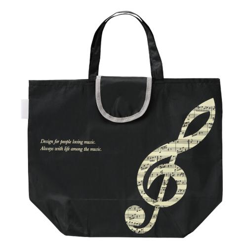 グラーヴェ 小さくたためるバッグ ※お取り寄せ商品 引き出物 記念品 音楽雑貨 音符 ピアノモチーフ ト音記号 ピアノ雑貨