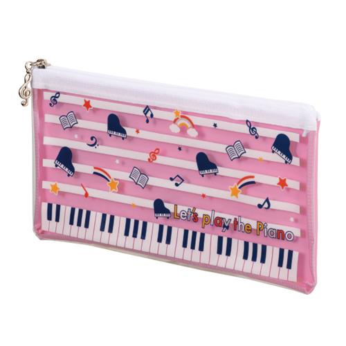 Piano line クリアペンケース ※お取り寄せ商品 引き出物 記念品 音楽雑貨 音符 ピアノモチーフ ト音記号 ピアノ雑貨