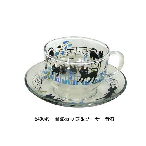NEKOにゃ~ご 耐熱カップ&ソーサ 音符【音楽雑貨 ピアノ雑貨】 ♪この商品はお取り寄せ商品です♪音符 ピアノ 楽器