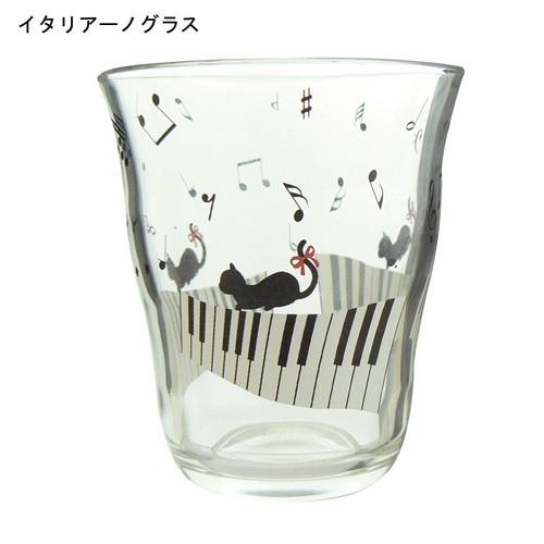 新商品 猫と音符イタリアーノグラス♪【音楽雑貨 音符・ピアノモチーフ】この商品はお取り寄せ商品です♪音符