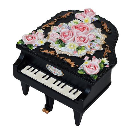 ミニピアノ型オルゴール ブラック ノクターン  ※お取り寄せ商品 【音楽雑貨 音符・ピアノモチーフ】ト音記号 ピアノ雑貨