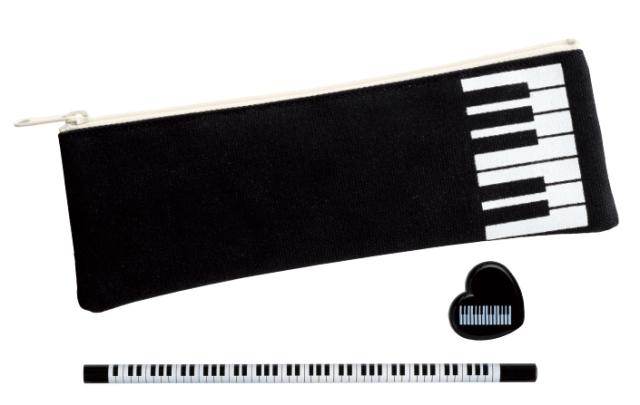 コットンペンケースセット ※お取り寄せ商品 引き出物 記念品 音楽雑貨 音符 ピアノモチーフ ト音記号 ピアノ雑貨