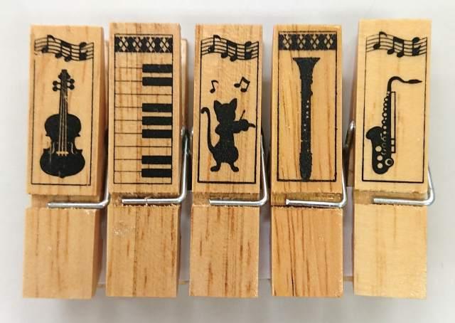 ウッドクリップ ※お取り寄せ商品 引き出物 記念品 音楽雑貨 音符 ピアノモチーフ ト音記号 ピアノ雑貨