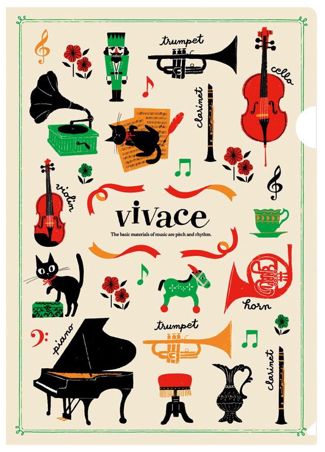 クリアファイル vivace ※お取り寄せ商品 引き出物 記念品 音楽雑貨 音符 ピアノモチーフ ト音記号 ピアノ雑貨