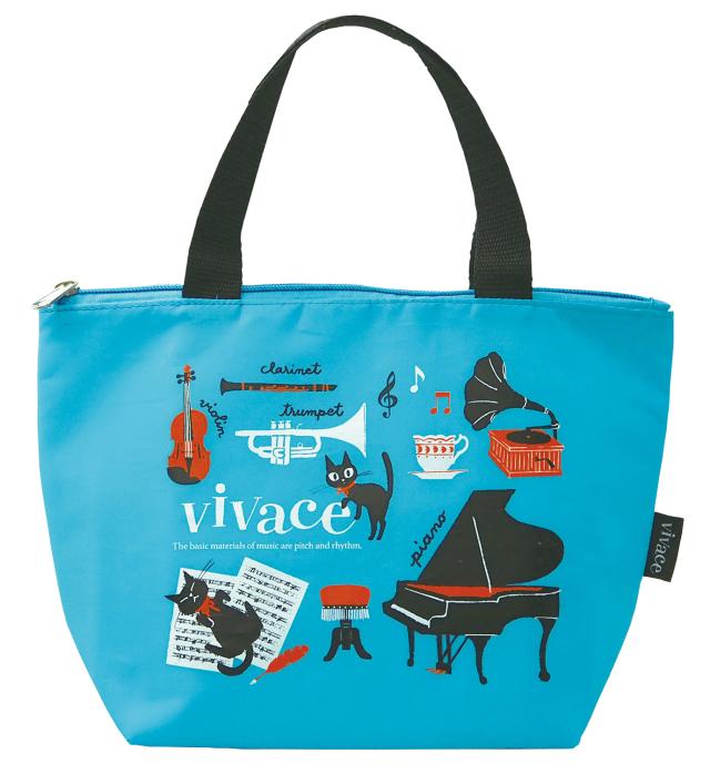 ランチトートバッグ vivace ※お取り寄せ商品 引き出物 記念品 音楽雑貨 音符 ピアノモチーフ ト音記号 ピアノ雑貨