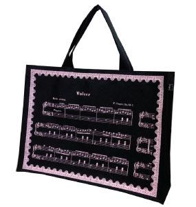 レッスンバッグミニ ショパン ブラックピンク  ※お取り寄せ商品 【音楽雑貨 音符・ピアノモチーフ】ト音記号 ピアノ雑貨