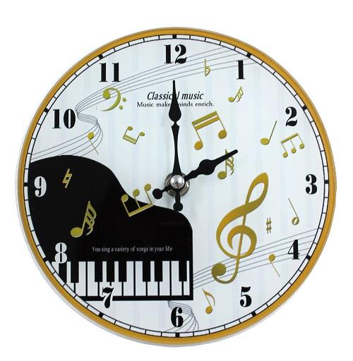 掛置時計 クラシカルミュージック ※お取り寄せ商品 引き出物 記念品 音楽雑貨 音符 ピアノモチーフ ト音記号 ピアノ雑貨