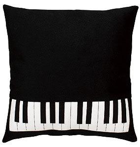 鍵盤クッション ブラック/ウール ※お取り寄せ商品 【音楽雑貨 音符・ピアノモチーフ】