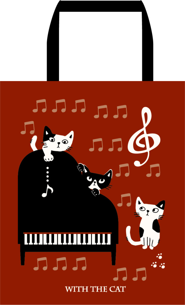 ファスナー付きA4トート ※お取り寄せ商品 引き出物 記念品 音楽雑貨 音符 ピアノモチーフ ト音記号 ピアノ雑貨