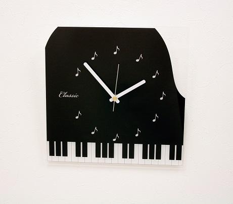 ピアノクリアクロック♪※お取り寄せ商品です♪【ピアノ発表会記念品に最適♪】