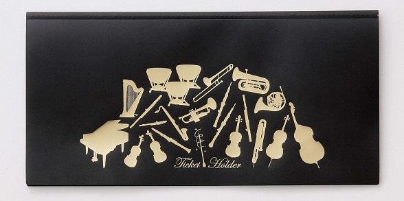 チケットファイル ブラック ※お取り寄せ商品 【音楽雑貨 音符・ピアノモチーフ】ト音記号 ピアノ雑貨