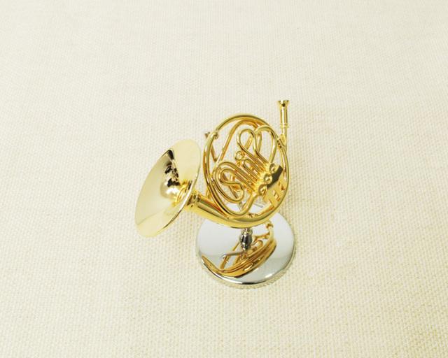 ミニチュア楽器!フレンチホルン 1/12 スケール(ゴールド)♪♪この商品はお取り寄せ商品です♪【楽器-音楽雑貨】
