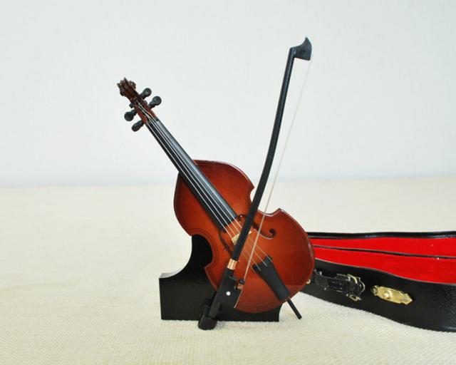 ミニチュア楽器!コントラバス 14cmサイズ♪この商品はお取り寄せ商品です♪♪【楽器-音楽雑貨】