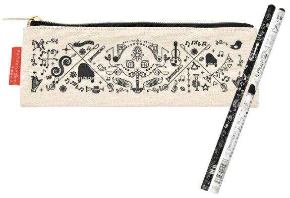 鉛筆&ペンポーチセット ※お取り寄せ商品 引き出物 記念品 音楽雑貨 音符 ピアノモチーフ ト音記号 ピアノ雑貨