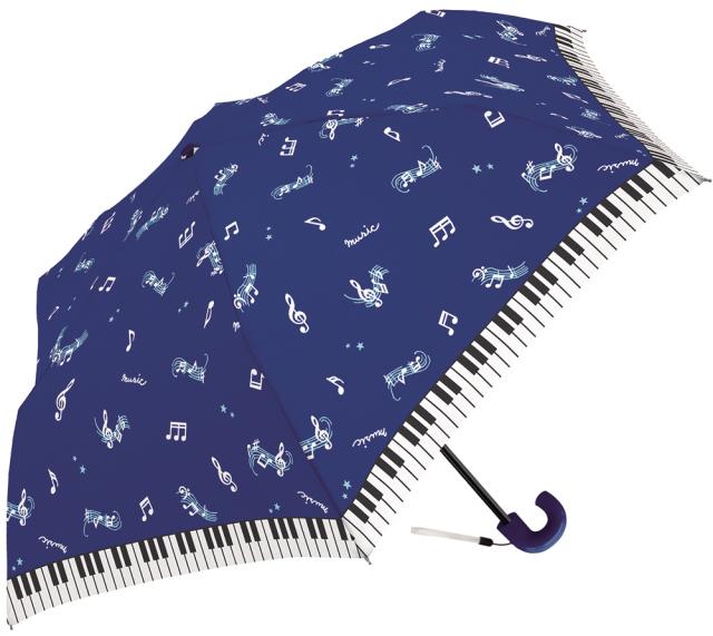 折りたたみ傘 マジカルミュージック ※お取り寄せ商品 引き出物 記念品 音楽雑貨 音符 ピアノモチーフ ト音記号 ピアノ雑貨
