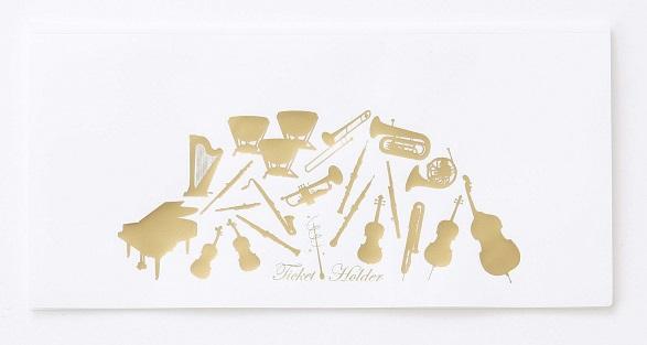 チケットファイル ホワイト ※お取り寄せ商品 【音楽雑貨 音符・ピアノモチーフ】ト音記号 ピアノ雑貨