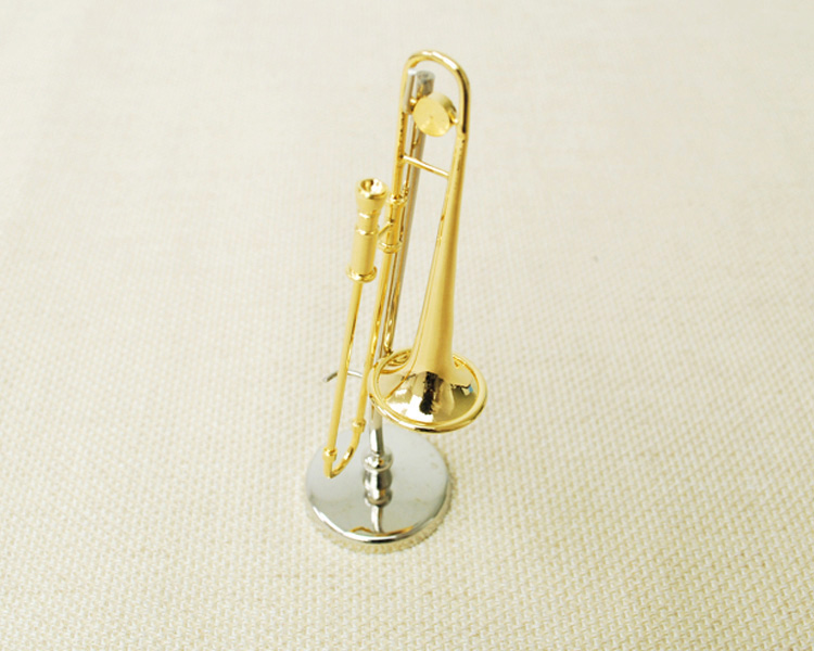 ミニチュア楽器!トロンボーン 1/12 スケール(ゴールド)♪この商品はお取り寄せ商品です♪♪【楽器-音楽雑貨】