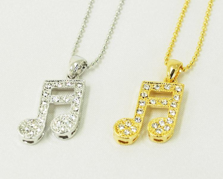 ラインストーン二連符ネックレス・小♪♪【ネックレス−音楽雑貨】