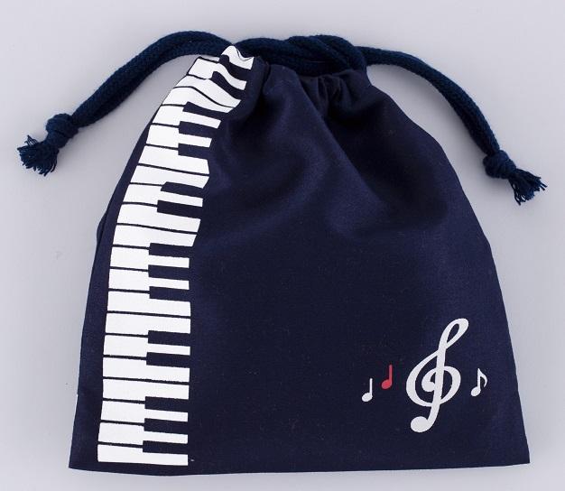 巾着 音符鍵盤 ※お取り寄せ商品 【音楽雑貨 音符・ピアノモチーフ】ト音記号 ピアノ雑貨