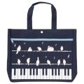 ピアノライン ポケット付きレッスンバッグ ことり ※お取り寄せ商品 引き出物 記念品 音楽雑貨 音符 ピアノモチーフ ト音記号 ピアノ雑貨