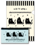 do-re-meow A4 クリアファイル&PVC ペンケースセット ※お取り寄せ商品 引き出物 記念品 音楽雑貨 音符 ピアノモチーフ ト音記号 ピアノ雑貨