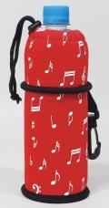 ペットボトルカバー レッド音符 ※お取り寄せ商品 引き出物 記念品 音楽雑貨 音符 ピアノモチーフ ト音記号 ピアノ雑貨