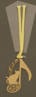 キャットブックマーク ゴールド音符 ※お取り寄せ商品 【音楽雑貨 音符・ピアノモチーフ】