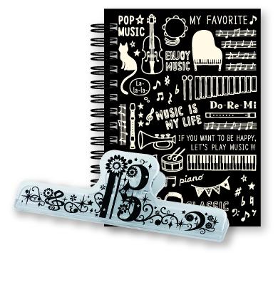 リングメモ&ロングクリップセット Music Life ※お取り寄せ商品 引き出物 記念品 音楽雑貨 音符 ピアノモチーフ ト音記号 ピアノ雑貨