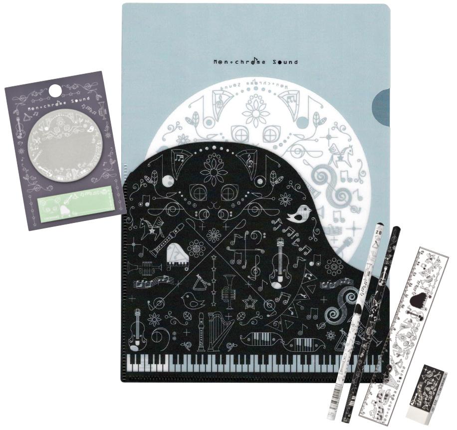 Monochrome Sound 鉛筆&ペンポーチセット※お取り寄せ商品 引き出物 記念品 音楽雑貨 音符 ピアノモチーフ ト音記号 ピアノ雑貨