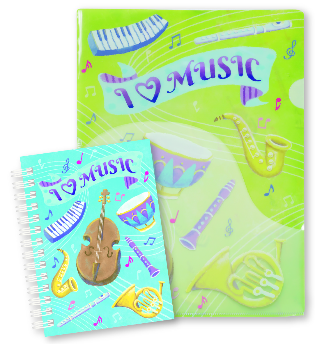I  LOVE MUSIC ポケットファイル&リングメモセット※お取り寄せ商品 引き出物 記念品 音楽雑貨 音符 ピアノモチーフ ト音記号 ピアノ雑貨