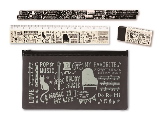 PVC ペンケース&文具セット ※お取り寄せ商品 【音楽雑貨 音符・ピアノモチーフ】ト音記号 ピアノ雑貨c
